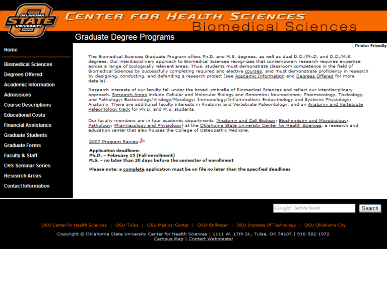 Oklahoma State University. Center for Health Sciences. Biomedical Sciences.
